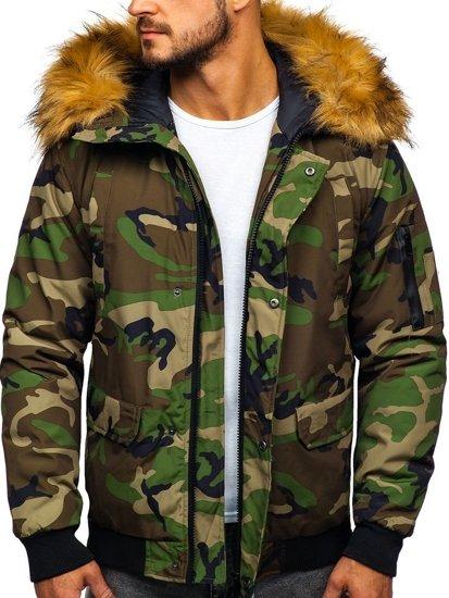 Zelená maskáčová pánska zimná bunda Bolf 2019M