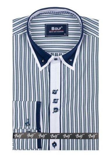 Zelená pánska pruhovaná košeľa s dlhými rukávmi BOLF 6884