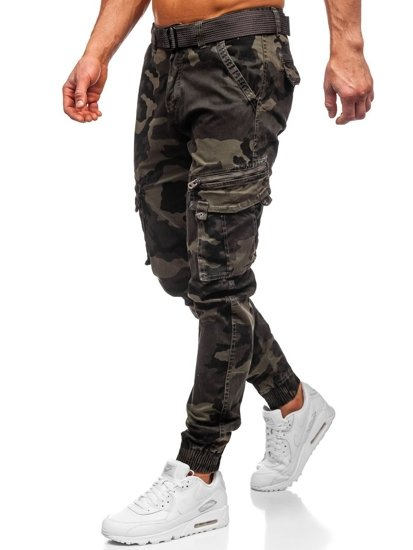 Zelené maskáčové pánske kapsáčové joggery s opaskom Bolf CT6013