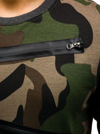 Zeleno-grafitová pánska mikina bez kapucne BOLF 0841