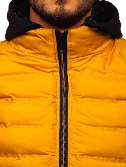 Žltá pánska vesta s kapucňou BOLF 5802
