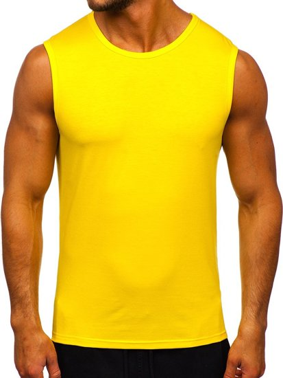 Žlté neónové pánske tielko bez potlače Bolf 99001
