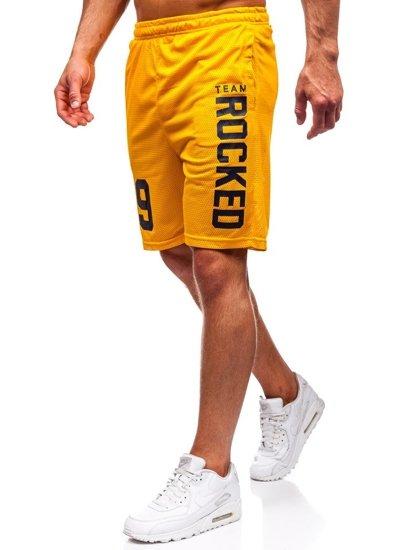 Žltý pánsky komplet: tričko + kraťasy  BOLF 100780