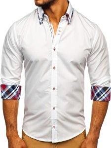 Biela pánska elegantná košeľa s dlhými rukávmi BOLF 3701