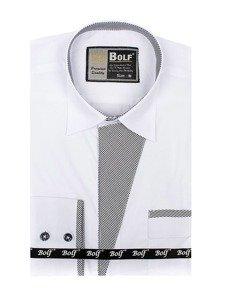 Biela pánska elegantná košeľa s dlhými rukávmi BOLF 4713