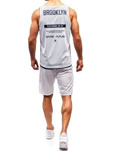 Biely pánsky komplet: tričko + kraťasy  BOLF 100778