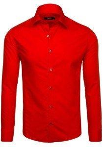 Červená pánska elegantná košeľa s dlhými rukávmi BOLF 1703