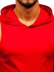 Červené pánske tričko bez rukávov s potlačou a kapucňou BOLF 1285