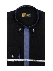 Čierna pánska elegantná košeľa s dlhými rukávmi BOLF 3725