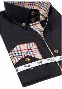 Čierna pánska elegantná košeľa s dlhými rukávmi BOLF 5747-1