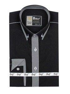 Čierna pánska elegantná košeľa s dlhými rukávmi BOLF 5800