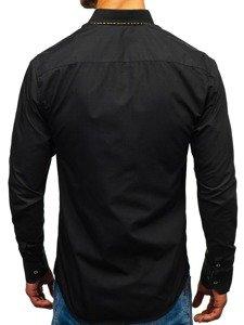 Čierno-hnedá pánska elegantá košeľa s dlhými rukávmi BOLF 4708