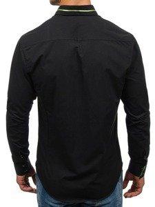 Čierno-zelená pánska elegantá košeľa s dlhými rukávmi BOLF 2964