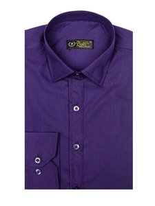 Fialová pánska elegantá košeľa s dlhými rukávmi BOLF 1703