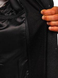 Grafitový pánsky zimný dvojradový kabát s odnímateľným golierom Bolf 8805