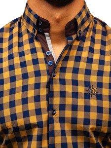 Hnedá pánska károvaná košeľa s dlhými rukávmi BOLF 5816-A