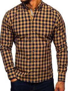 Kamelová pánska károvaná košeľa s dlhými rukávmi BOLF 4701
