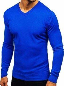 Modrý pánsky sveter s výstrihom do V Bolf2200