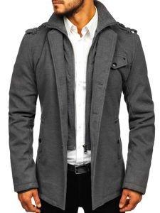 Pánsky sivý jednoradový kabát s vysokým golierom Bolf 8853