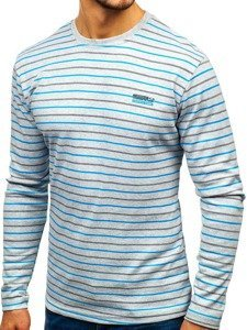 Šedé pánske prúžkované tričko s dlhými rukávmi Bolf  1519-A