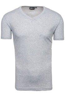 d22ccaf468d4 Šedé pánske tričko bez potlače s výstrihom do V BOLF T31
