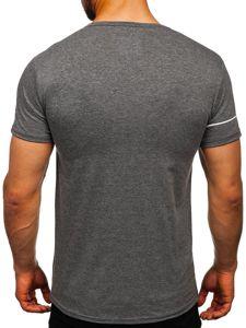 Šedé pánske tričko s potlačou Bolf SS10909