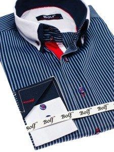 Tmavomodrá pánska elegantná košeľa s dlhými rukávmi BOLF 2790