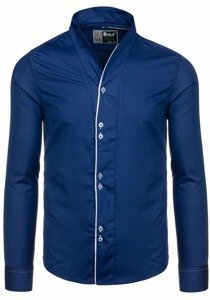 Tmavomodrá pánska košeľa s dlhými rukávmi BOLF 5720-1