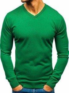 Zelený pánsky sveter s výstrihom do V Bolf2200