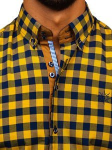 Žltá pánska károvaná košeľa s dlhými rukávmi Bolf 4701