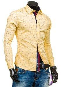 Žltá pánska vzorovaná košeľa s dlhými rukávmi BOLF 6886
